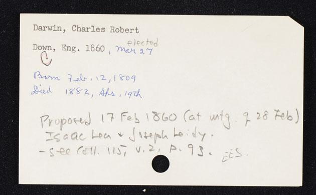 Charles Darwin Membership Card