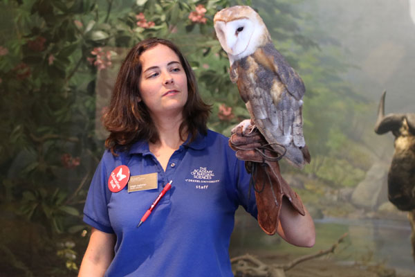 Woman in blue shirt holds an owl at Academy of Natural Sciences' Members Night. Become a member at a discounted rate on Cyber Monday.