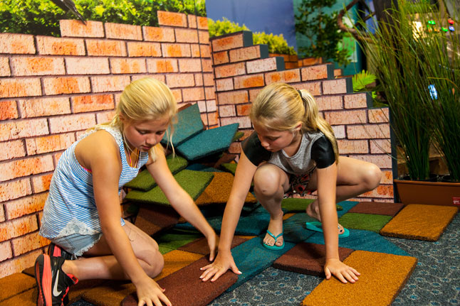 Solve the paver puzzle in the backyard adventures exhibit at the Academy