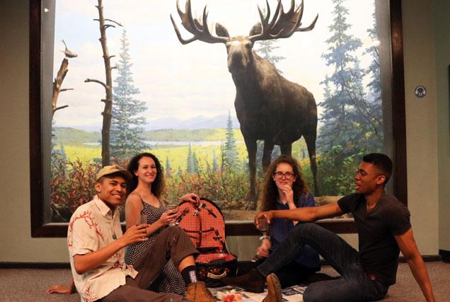 Dino-mite Date Nite includes a picnic in front of a diorama