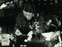 Ruth Patrick at Microscope
