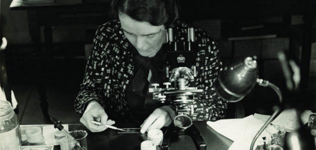Ruth Patrick at Microscope