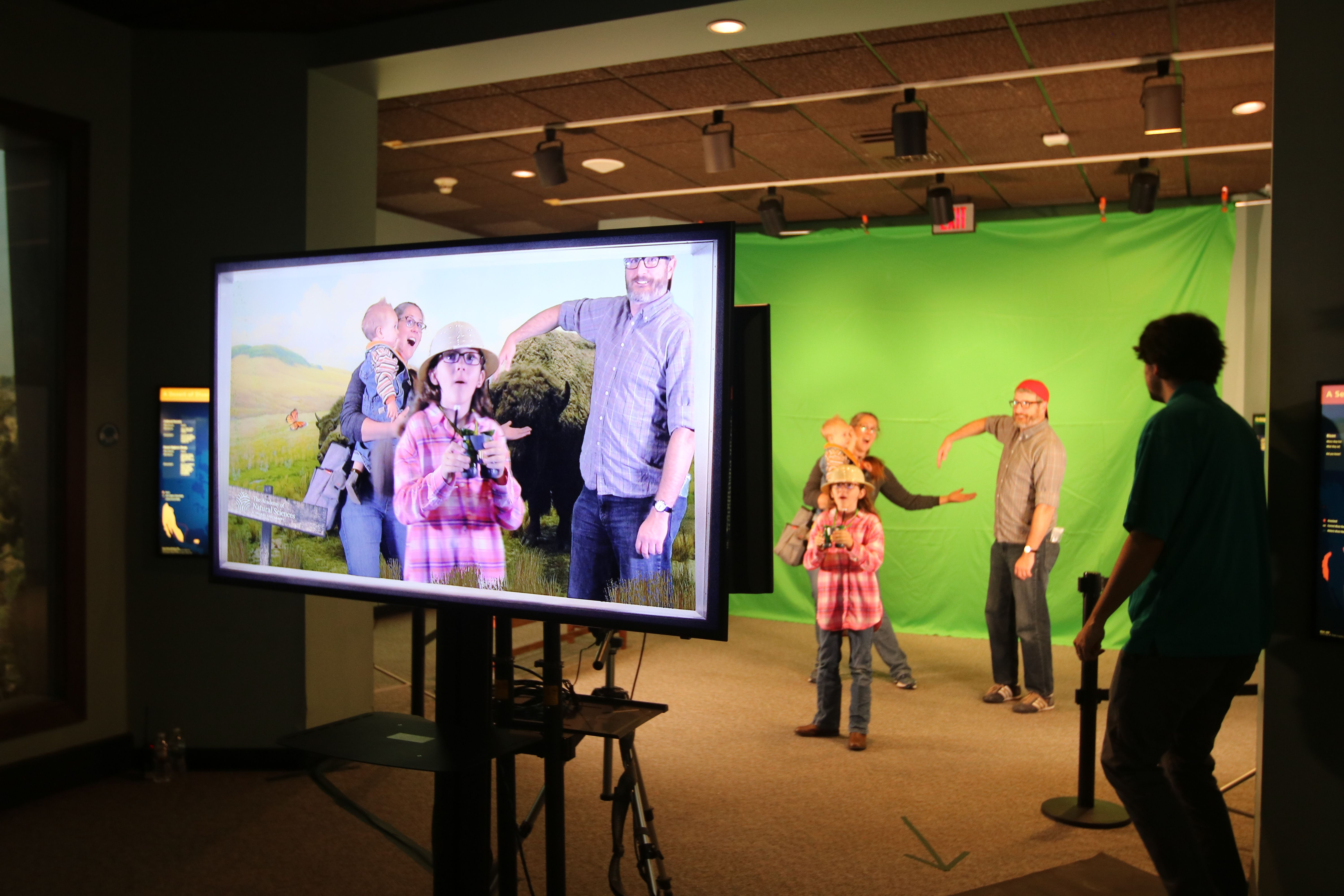 Family uses green screen to explore diorama