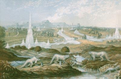 dinosaurs in park landscape