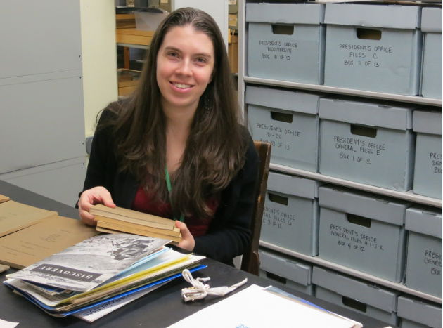 woman with archive documents