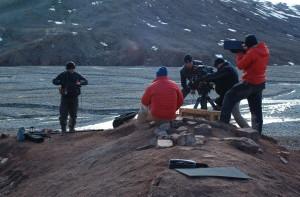 filming at tiktaalik site