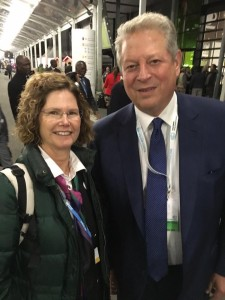 You never know who you'll run into at a climate conference. Collier and Al Gore.