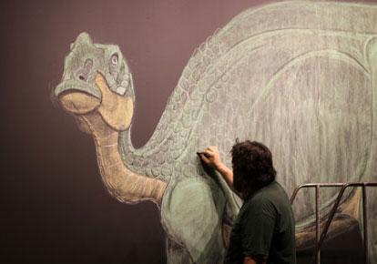 Poole draws Hadrosaurus