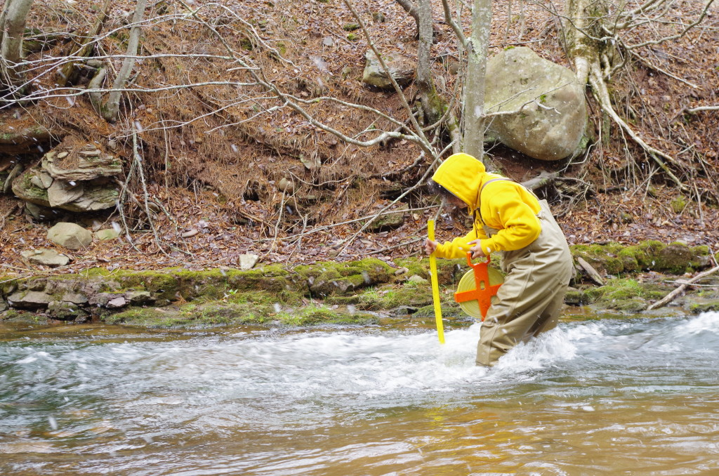 Staff Scientist Sylvan Klein conducts a rapid habitat evaluation to assess a site's suitability for potential sampling.