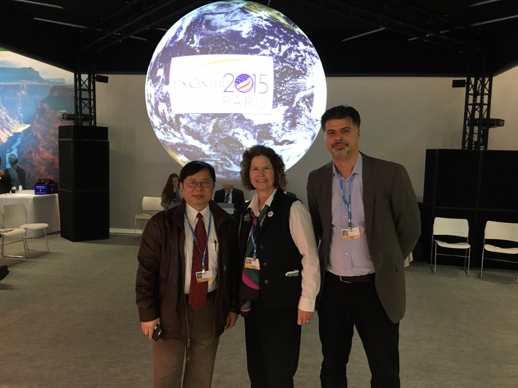 Delegates at the conference (from left) ... Longjian Liu, Drexel associate professor of epidemiology and biostatistics, Carol Collier, and Franco Montalto, researcher with Drexel's College of Engineering.