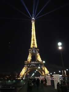 The Eiffel Tower decked out for the climate conference. Photo by Carol Collier