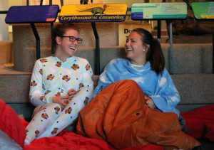 Guests in pajamas