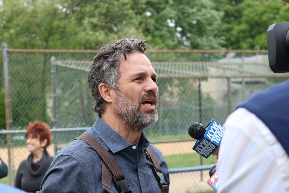 Ruffalo talks with reporters