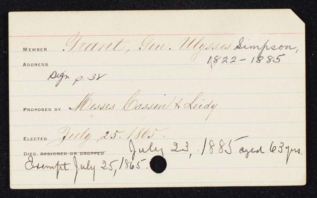 Ulysses Grant Membership Card
