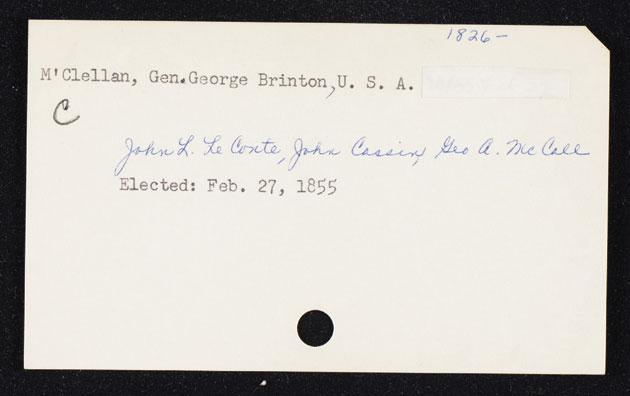 George B McClellan's membership card