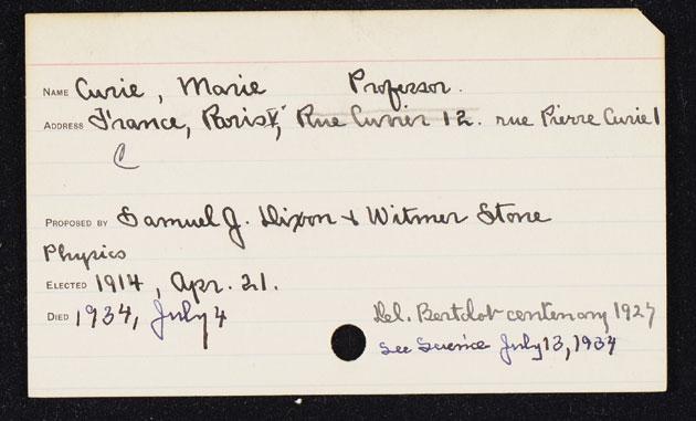 Marie Curie's Membership Card