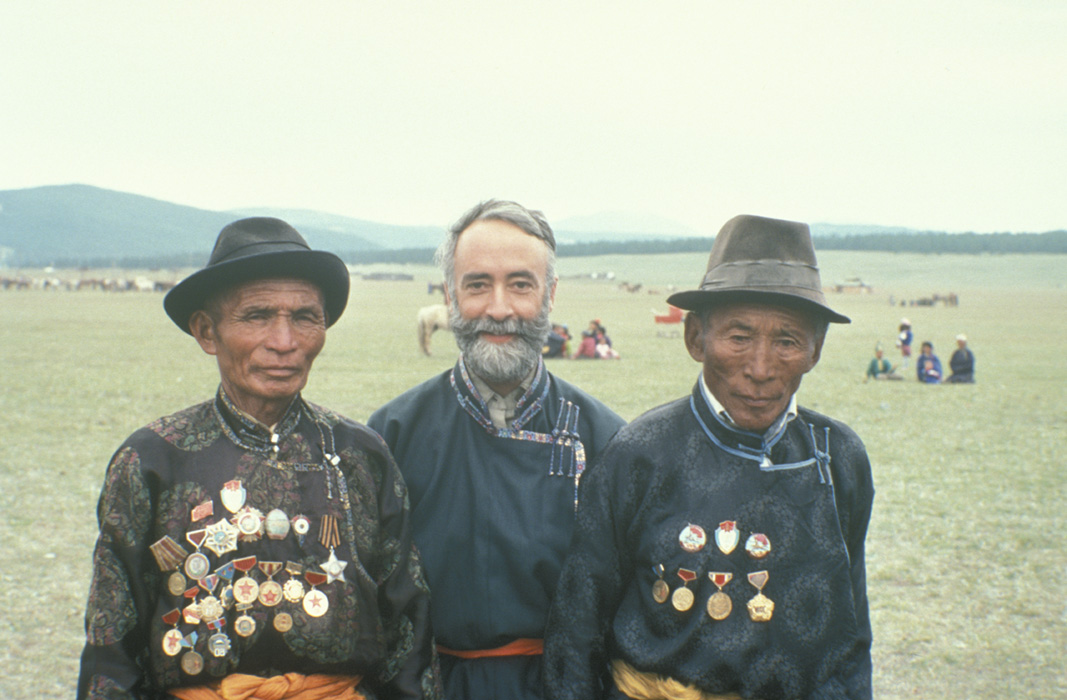 "Hanging with Mongolia war lords in 1995. ""Each place has its own magic,"" Peck says of his motivation to chronicle his travels."