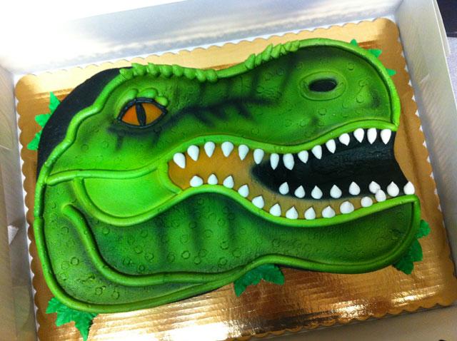 Green T. rex Cake