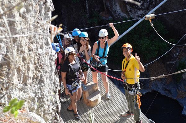Students ready to climb