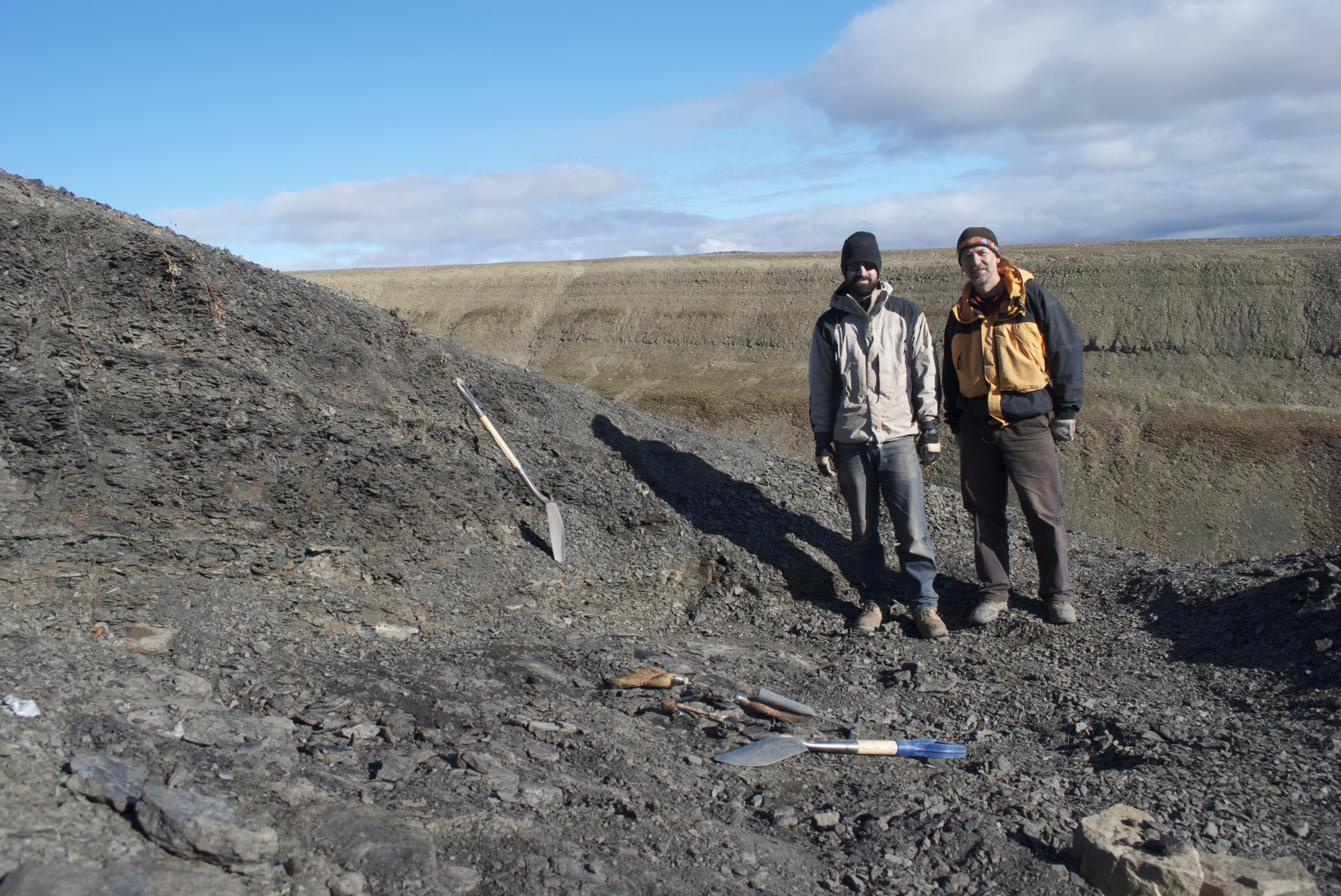 Academy scientists Jason Downs, PhD, and Ted Daeschler, PhD, at the Arctic site where they discovered B. rex.