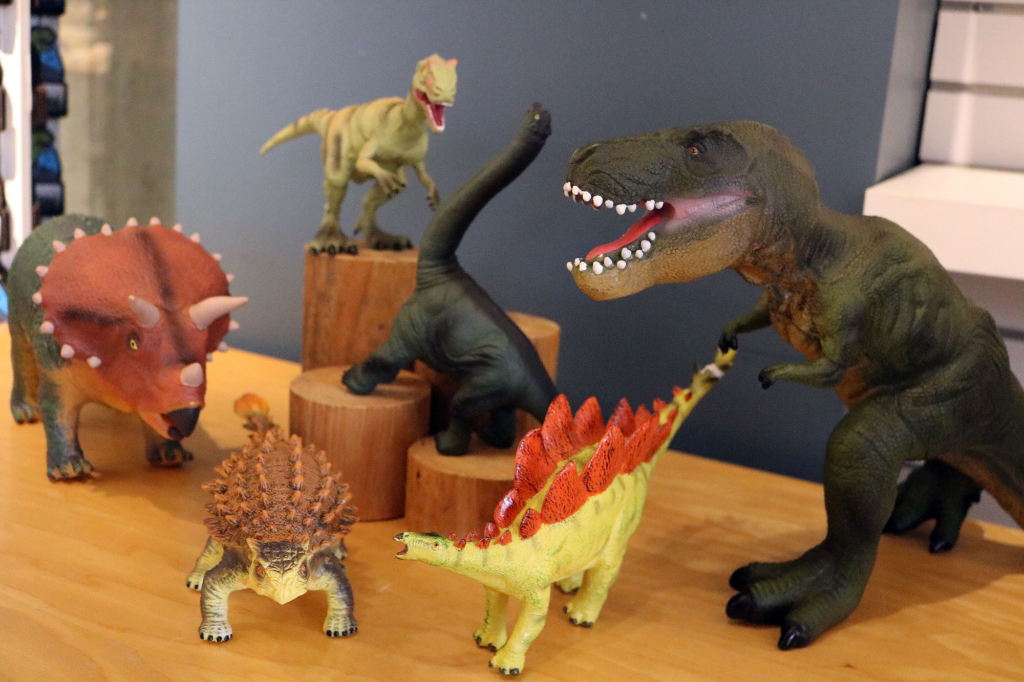 Rubber dinosaurs, large and small