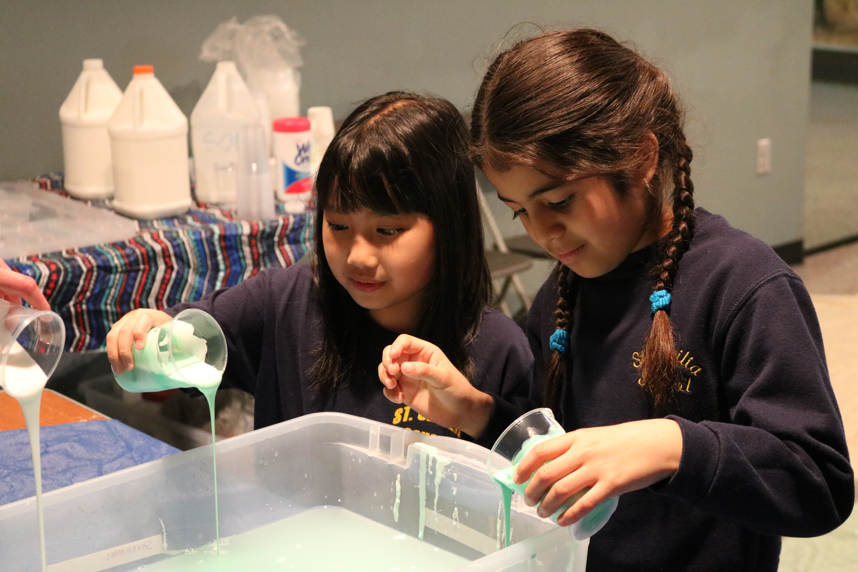 Girls making slime