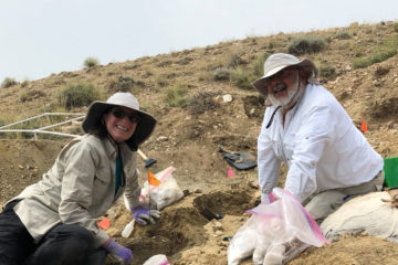 Karen and Wayne lattuca working in dirt in fossil bed surrounded by tools of the trade