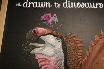Hadrosaurus foulkii on giant chalkboard