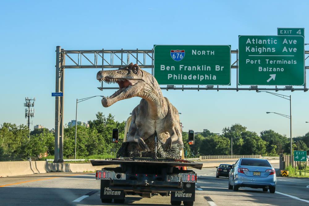 Spinosaurus on Flatbed Truck