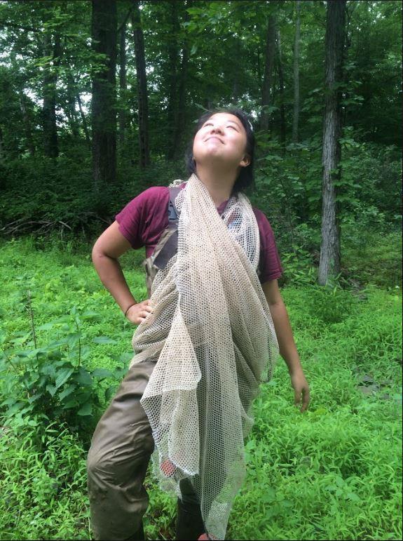 Amanda draped in block net
