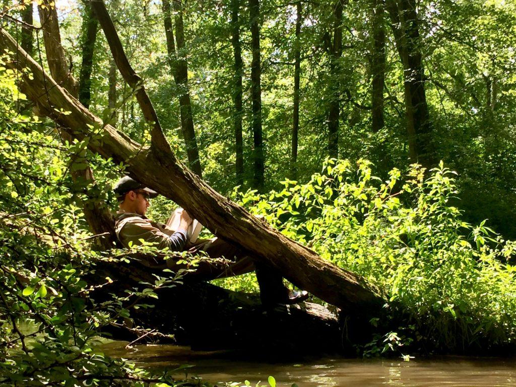 Vito taking habitat notes cherry creek 2017