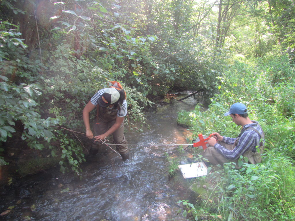 Two scientists measuring stream
