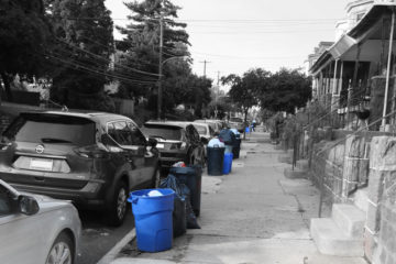 Blue recycle bins on Germantown PA street