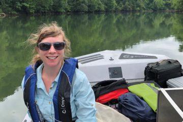 stef in boat