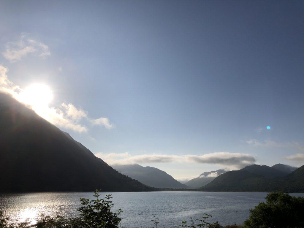 Karluk Lake, Alaska at sunset