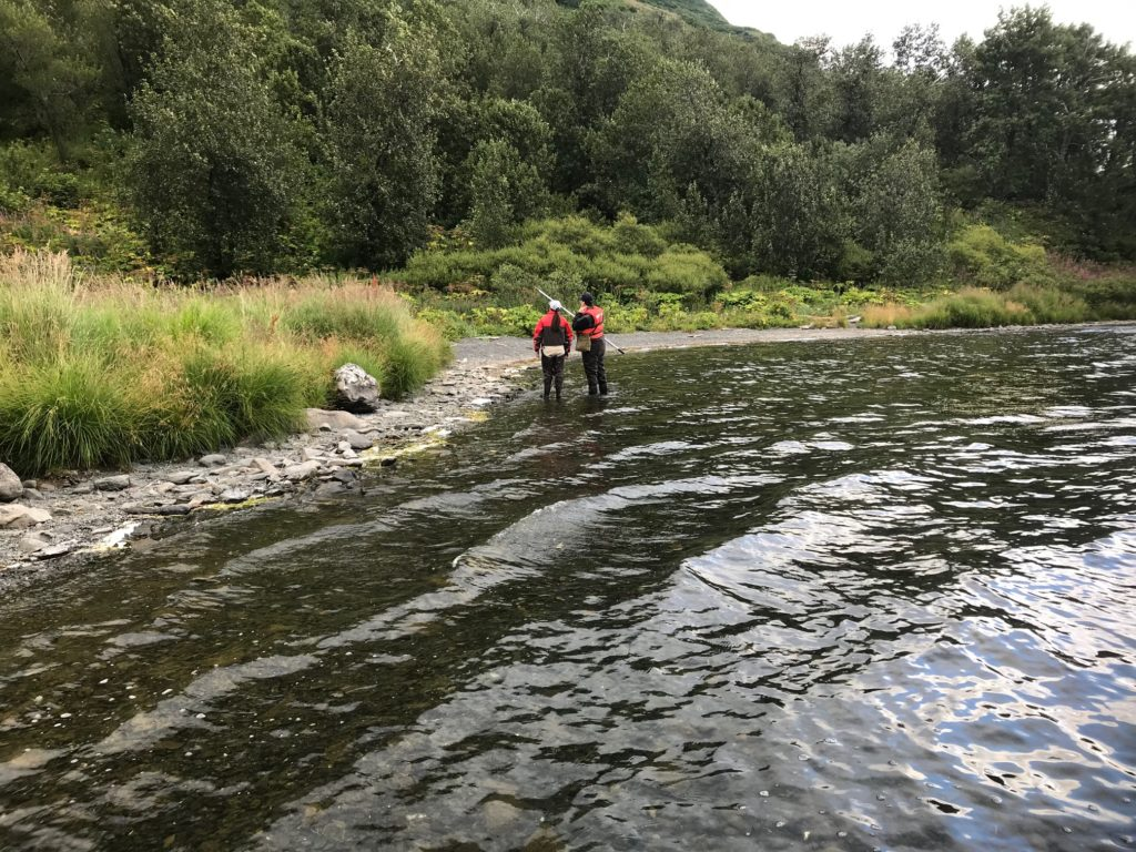 Female scientists wade at Lake's edge