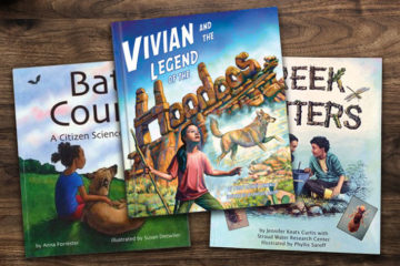 Image of childrens' books with titles Bat Count, Vivian and the Legend of the Hoodoos and Creek Critters