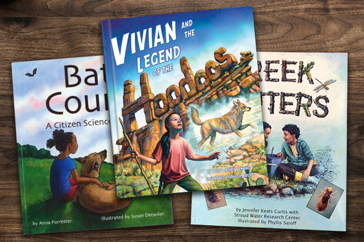 Image of three children's books with the titles Bat Count, Vivian and the legend of the Hoodoos, and Creek Critters