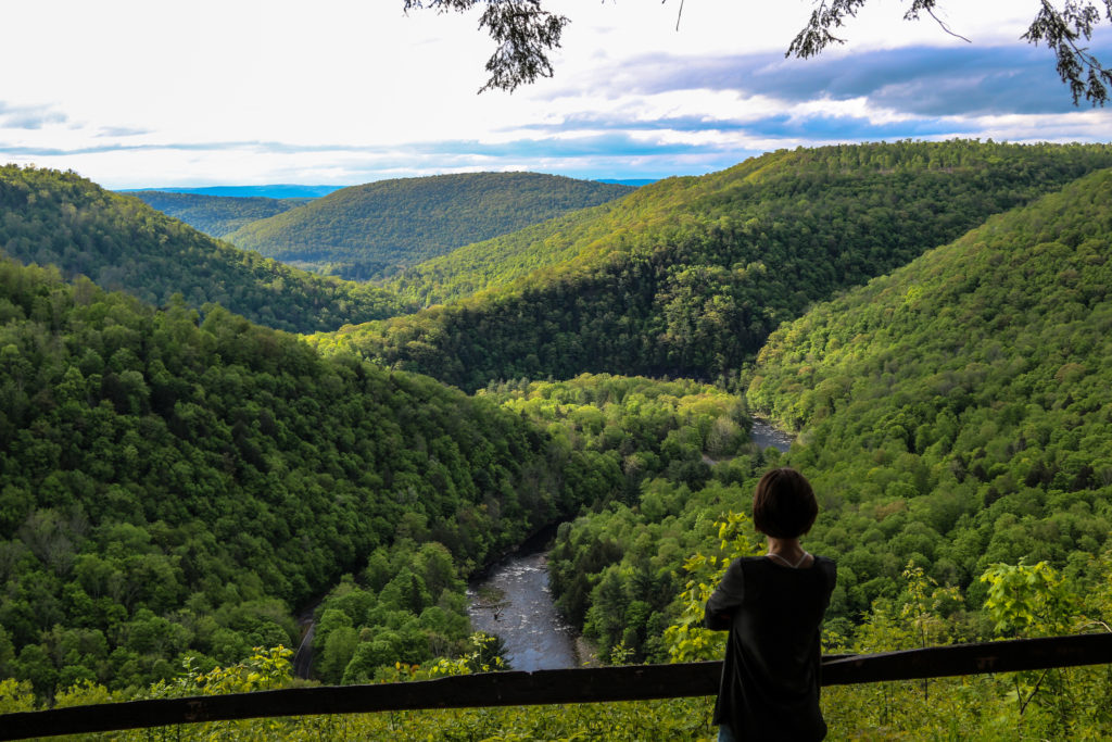 woman looking out over vista of green hills with river below